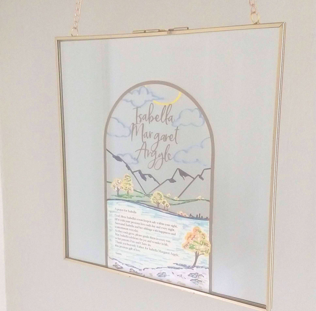 custom room blessing with new baby name and landscape framed